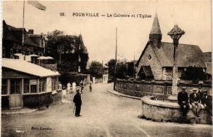 CPA POURVILLE-Le Calvaire et l'Église (348807)