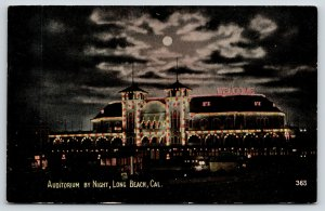 Long Beach California~Auditorium Night Lights~Colorful WELCOME~Full Moon~c1910