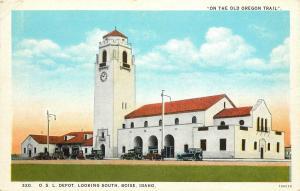 1920s Oregon Trail Postcard O.S.L. RR Depot Looking South, Boise ID Ada County