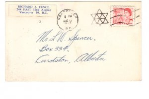 Cardston, Alberta Address, 1967 Vancouver Cancel