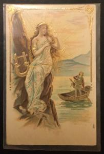 Postcard Unused Embossed Angel Harp boy in boat #596 LB