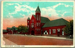1924 Atchison, Kansas Postcard UNION DEPOT Railroad Train Station Street View