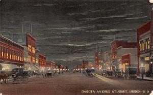 Huron South Dakota Avenue~Wheeler Glass~Dentist~Clothier~Night View c1914