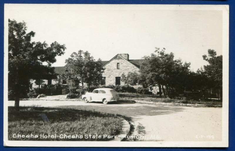 Munford Alabama al Lake Cheaha State Park Hotel Real Photo Postcard RPPC