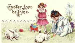 C.1910 Adorable Kids w/ Rabbits Colored Easter Eggs Postcard F48