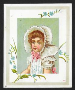 VICTORIAN TRADE CARD Cute Girl with Bonnet & Blue Flowers