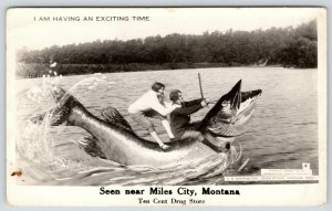 Exciting Time in Miles City Montana~Couple on Exaggerated Fish~1946 RPPC