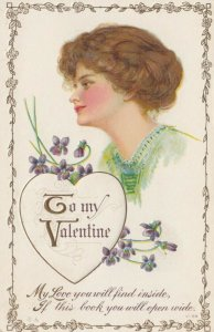 To My VALENTINE, 1900-10s; Woman's profile, flowers