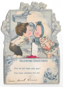 Vintage Valentine Children Kissing Fold Out Diecut Card Honeycomb Popup