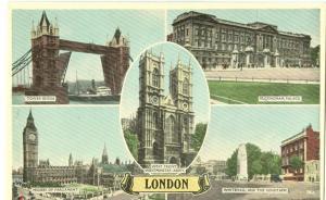 London multi view, 1920s-1930s  unused Postcard
