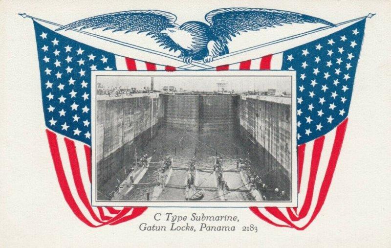 GATUN LOCKS, Panama, 1910-20s; C Type Submarine