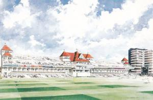 The New Radcliffe Stand Nottingham Cricket Architects Painting Postcard