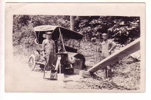 Real Photo, Men Working with Modern T Style Car, Ohio Licence Plate