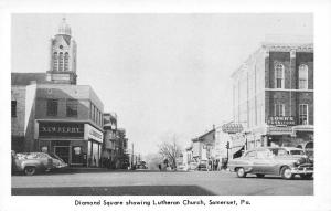 Somerset Pennsylvania~Diamond Square~JJ Newberry's~Lohrs~1950s Cars B&W Postcard