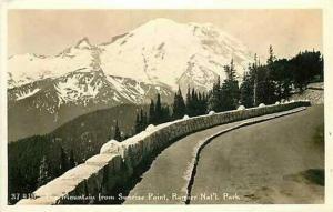 WA, Rainier National Park, Washington, RPPC, Mountain From Sunrise Point