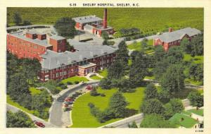NC, North Carolina  SHELBY HOSPITAL~Bird's Eye View CLEVELAND CO c1940s Postcard