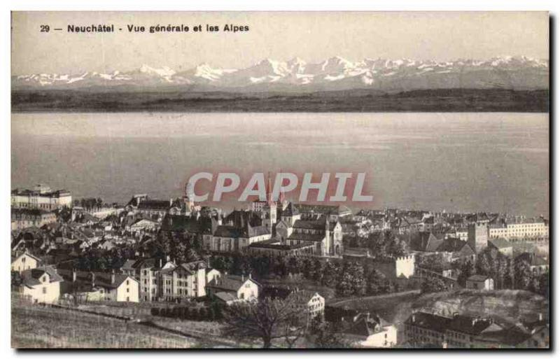 CPA Neuchatel View and the Alps