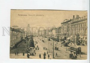 436016 RUSSIA Petrograd Nevsky Prospect tram cabs shops Vintage postcard