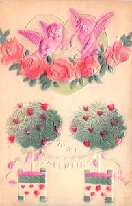 Valentines Day Post Card Old Vintage Antique Postcard Embossed 1910