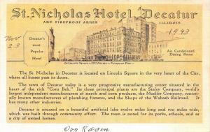 Decatur Illinois~St Nicholas Hotel @ Lincoln Square~Advertisement Postcard