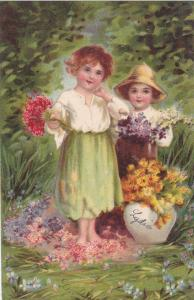 Children surrounded by colorful flowers, Vase, PU-1906