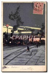 Old Postcard Against Light Train