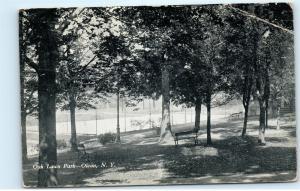 *1909 Oak Lawn Park Olean NY New York Black and White Vintage Postcard B89