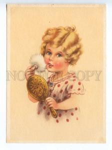 241628 GERMANY CHILDREN girl powder oneself in mirror Vintage