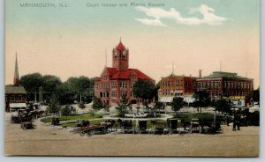 Monmouth IL Horse & Buggies & Wagon Around Square~Courthouse Clocktower~c1910 PC