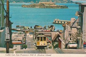 California San Francisco Cable Car On San Francisco Hill & Alcatraz Island