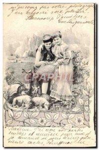 Postcard Old Goat Woman Lamb
