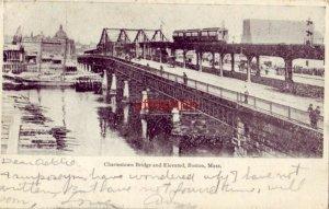 pre-1907 CHARLESTOWN BRIDGE AND ELEVATED. BOSTON, MA 1905