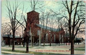 Adrian, Michigan Postcard ST. MARY'S CATHOLIC CHURCH Street View c1910s