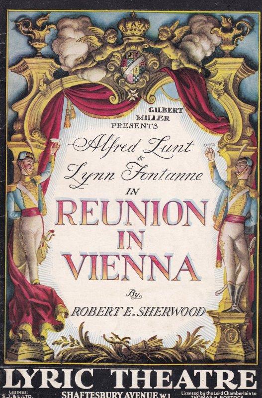 Reunion In Vienna Alfred Lunt Lynn Fontaine Lyric Theatre Programme