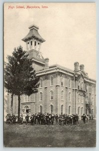Maquoketa Iowa~High School~Students Outside~Tough Guys~Fire Escapes~c1910 B&W PC