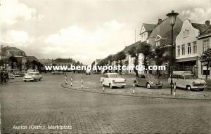 germany, AURICH, Ostfriesland, Marktplatz, Car V.W. VW Beetle (1950s) RPPC