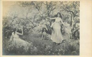 Lovely ladies spring fantasy early postcard