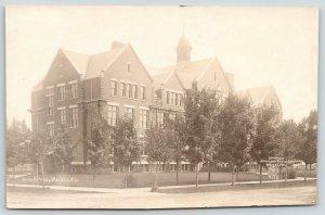 Wausau Wisconsin~High School~Young Trees Guard Sidewalk~NPC #175~c1915 RPPC