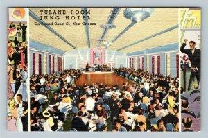 New Orleans LA-Louisiana, Tulane Room at Jung Hotel, Linen c1950 Postcard