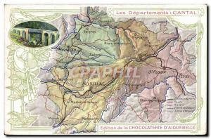 Old Postcard geographical maps of Chocolaterie & # 39Aiguebelle Cantal