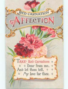 Pre-Linen christmas RED CARNATION AFFECTION - BEAUTIFUL CARNATION FLOWERS W7111