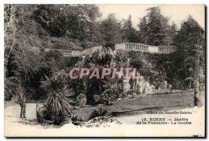 Old Postcard Nimes Garden Fountain Cave