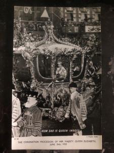 Mint England RPPC Postcard Coronation Procession Of HM Queen Elizabeth II