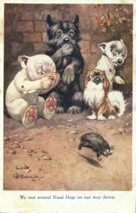 Artist Signed G.E. Studdy, BONZO Dog We met several Road Hogs (1920s) Postcard