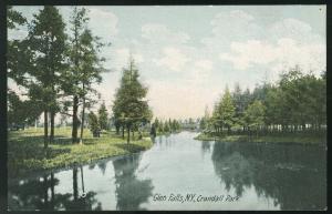 Glen Falls NY Crandall Park UND Vntg German Litho Postcard