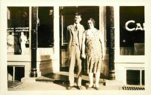 Cafe Fountain Service Young Couple 1920s RPPC Photo Postcard 1419