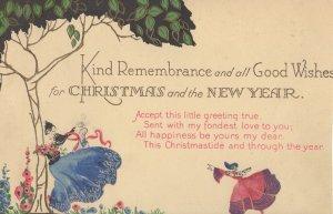 Christmas Fairy Dancers Antique Upmarket Greetings Postcard
