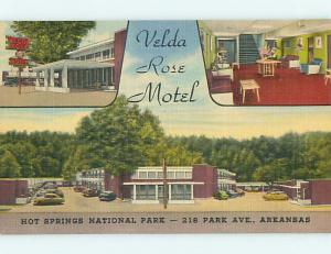 Unused Linen OLD CARS & VELDA ROSE MOTEL Hot Springs Arkansas AR u8628-44