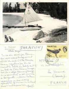 mauritius, Le Chaland, Beach with Sailing Boat (1965) RPPC Postcard