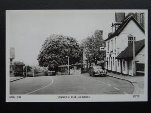 London Barnet HENDON Church End shows THE GREYHOUND INN - Old RP Postcard